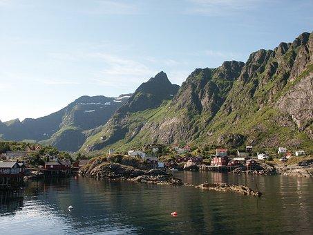 Lofoten, Arctic, Norway, Landscape, Village, Fjord