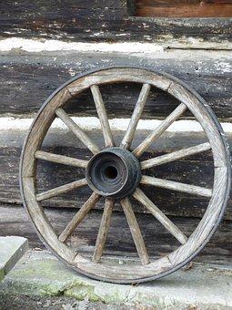 Wheel, Village, Rural, Near The Car, Car, Wooden, Wood