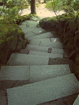Stones, Steps, Down, Downwards, Zen, Path