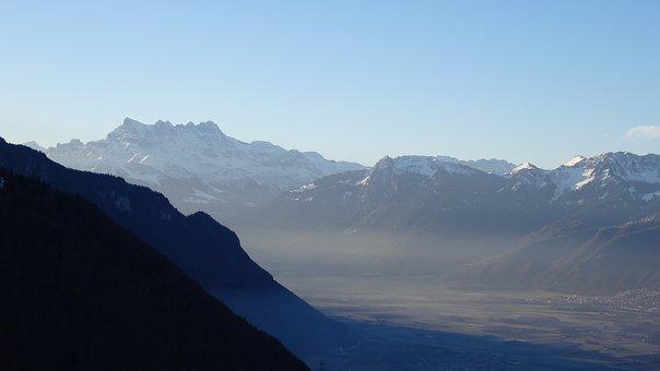 View, Mountain, Alps, Sky, Blue, Light, Panorama