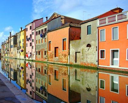 Chioggia, Italy, Old Houses, Channel, Architecture