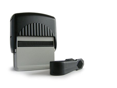 Stamper, Gray, Black, Office, Self-inking