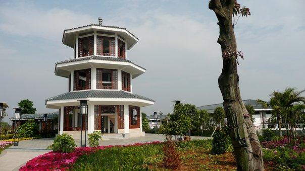 Guangzhou, China, Pagoda, Building, Trees, Flowers