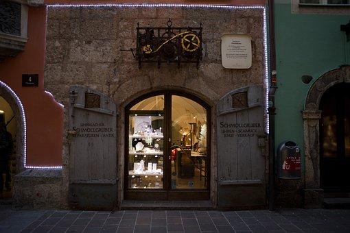Watchmaker, Shop, Christmas Lights, Architecture