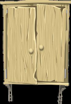 Cabinet, Wood, Wooden, Brown, Wall, Hanging, Doors