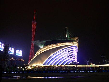 Guangzhou, China, Opera House, Night, Evening, Light