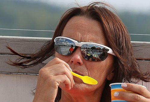 Summer, Ice, Ice Cream Sundae, Enjoy, Sunglasses