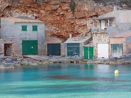 Building, Boat Garages, Sea, Mallorca, Turquoise, Green