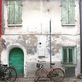 Door, Bicycles, Borgo, Rimini, Italy, Old House