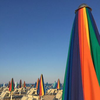 Sea, Beach, Rimini, Summer, Umbrellas, Lido, Sun