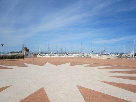 Rimini, Italy, Sky, Clouds, Walkway, Courtyard, Design