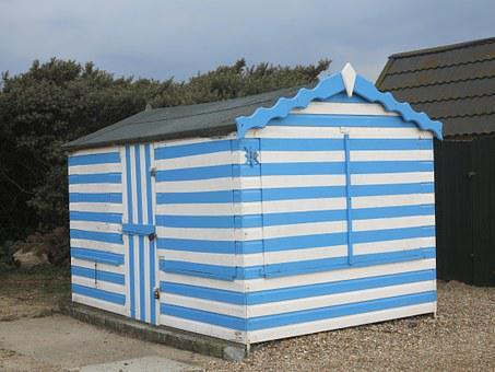 Beach, Hut, Summer, Sea, Coast, Blue, Holiday, Seaside
