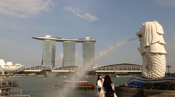 Singapore, Merlion, Spray, Water, Architecture