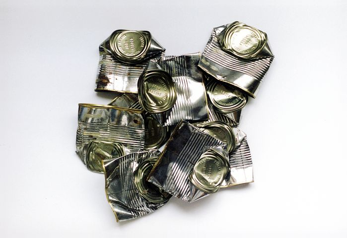 Tin Can, Cans, Dented Metal, Tin, Container, Silver