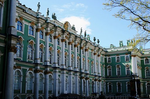 Winter Palace, Inner Walls, White And Turquoise, Ornate