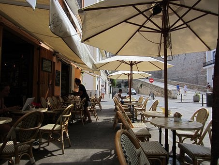 Café, Pavement Cafe, Al Fresco, Umbrellas, Tables
