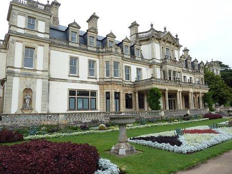 Dyffryn House, Architecture, Building, Lawn, Flowerbeds