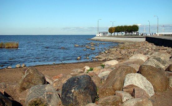 Sea, Baltic, Gulf Of Finland, Beach, Autumn, Peterhof