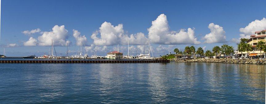 Sint Marten, Dock, Bay, Clouds, Sun, Water, Sky, Coast