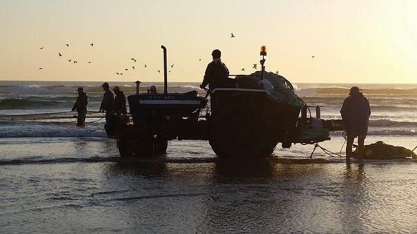 Tractor, Fishing, Sea, Beach, Tomorrow, Fisherman