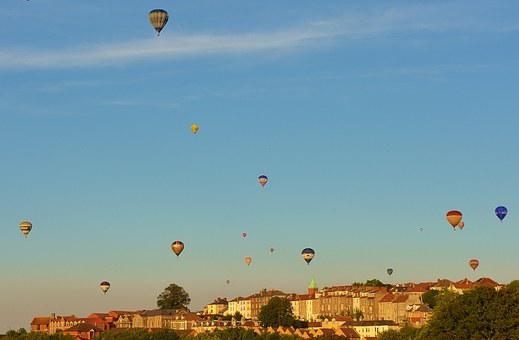 Hot Air Balloons, Blue, Sky, Bristol, Architecture
