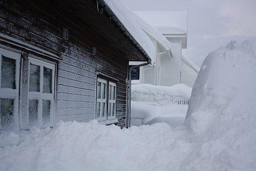 Snow, House, Winter, Blizzard, Snowbound, House Wall