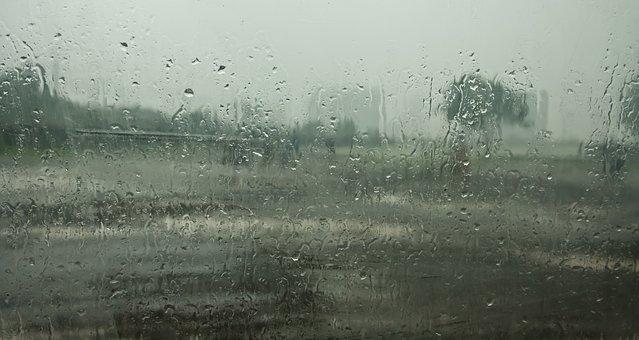 Monsoon, Raindrops, Rain, Glass, Wet, India