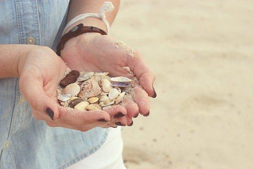 Hands, Seashells, Beach, Sand, Nail Polish