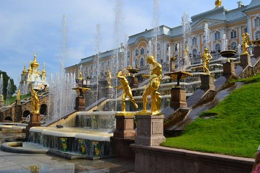 Peterhof, Russia, Petrodvorets, Palace, Park, Fountains
