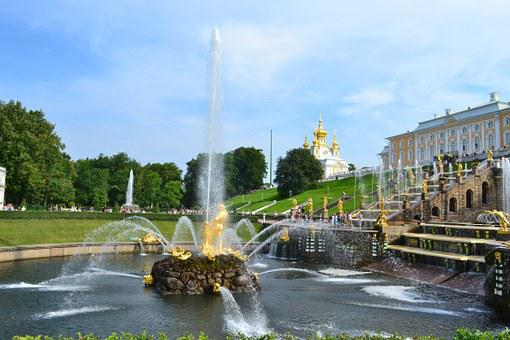 Peterhof, Russia, Petrodvorets, Fountain, Palace, Park