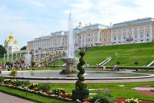 Peterhof, Russia, Petrodvorets, Palace, Park, Fountain
