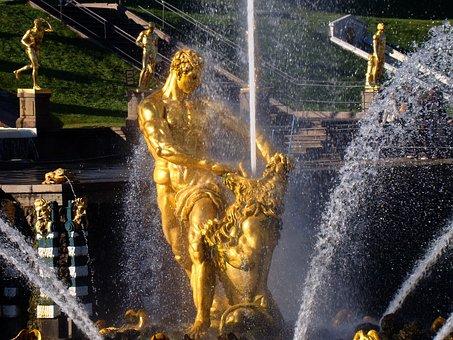 Fountain, Peterhof, Petrodvorets Peterhof, Petersburg