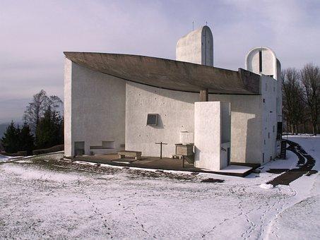 Notre-dame You Skin De Ronchamp, Ronchamp, Chapel, Snow
