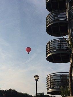 Bristol, England, Sky, Hot Air Balloon, Street Lamp