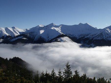 Mountains, Snow, Foggy, Winter, Landscape, High