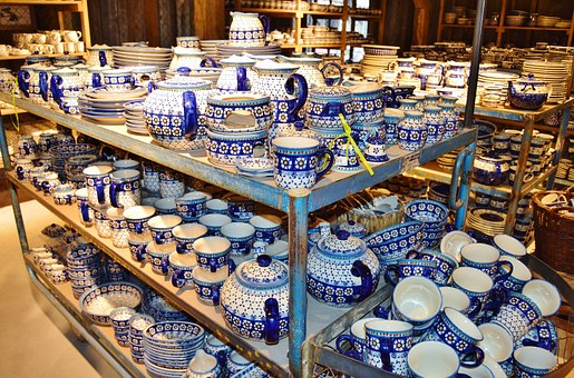 Porcelain, Bunzlauer, Tableware, Stock, Shells