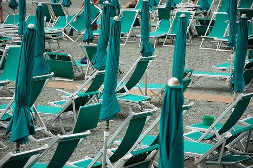 Beach, Bonassola, Umbrellas, Sea
