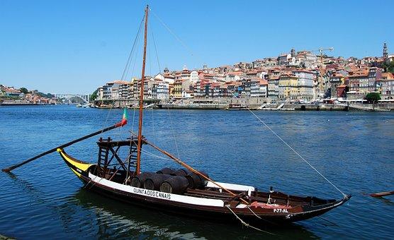 Boat, Ancient, Oporto, Portugal, River, Wine, Transport