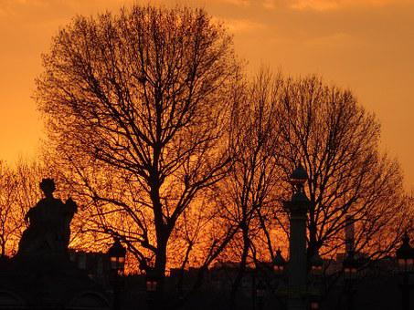 Tuileries, Paris, Abendstimmung, Orange, Sunset, Winter