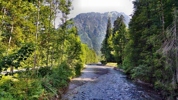 Mountains, River, Alpine, Landscape, Mountain, Nature
