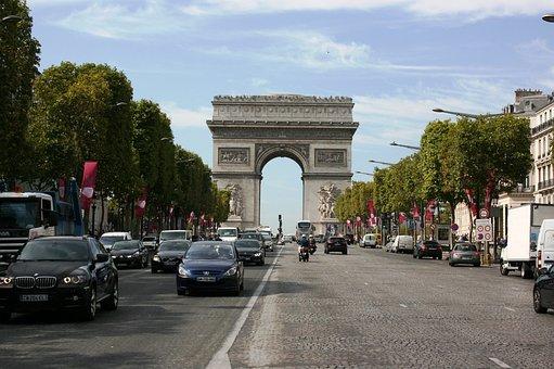 Arch Of Triumph, Champs Elysees Avenue, Paris