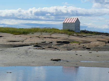 Canada, Sea, River, Cabin, Stones, Landscape, Québec