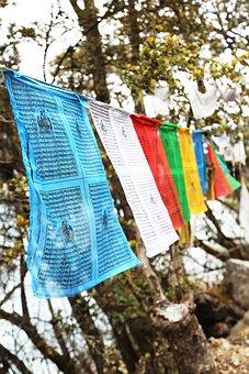 Prayer Flags, Tibet, Basong, Lake, Color