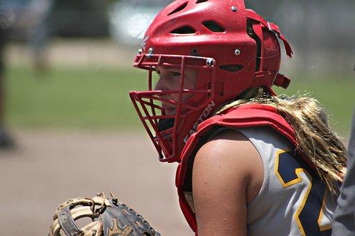Young, Girl, Catcher, Softball, Outdoor, Player, Sport