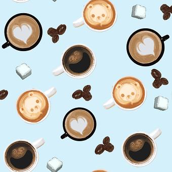 Cup, Coffee, Sugar, Bean, Pattern, Hart, Bear, Laughter