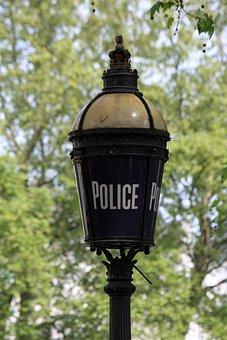 Police, Lamp, Sign, Lamp Light, Photo, Close-up