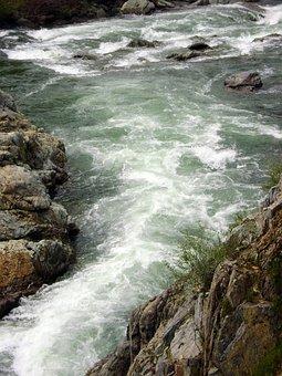 Stream, River, Flowing, Flows, Narrow, Path, Rocks