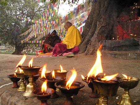 Prayer Flags, Candles, Prayer, Buddhism, Lumpini, Nepal