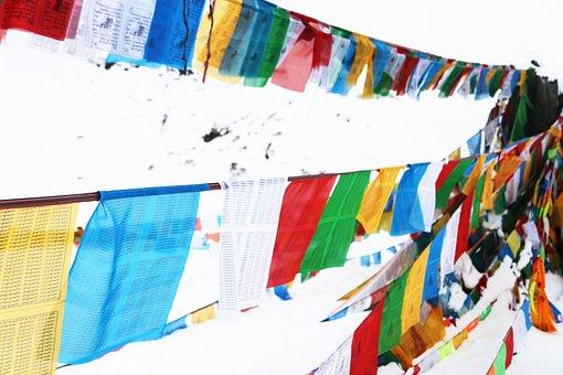 Prayer Flags, Tibet, In Shergyla Mountain Pass, Color