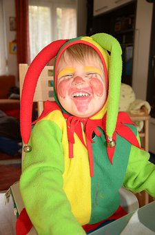 Carnival, Boy, Costume, Harlequin, Yellow, Red, Green
